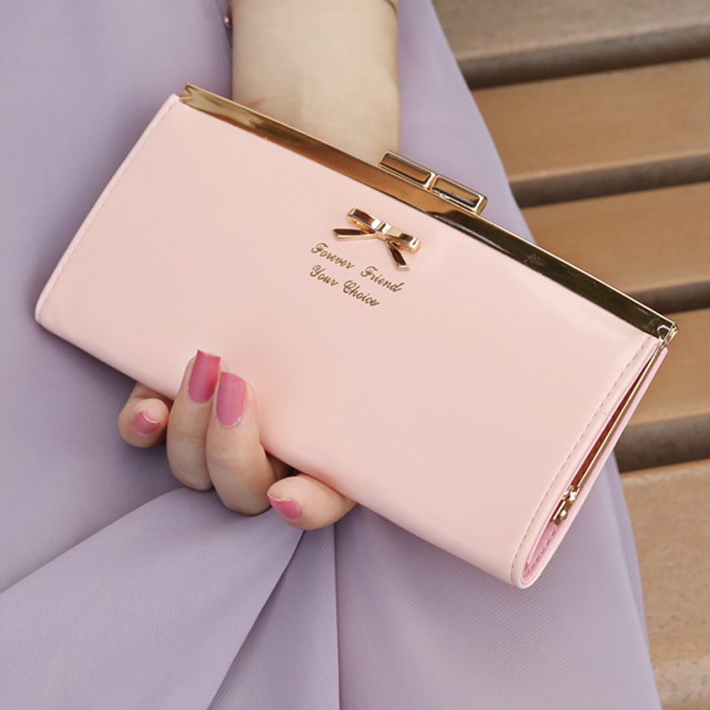 New 2015 leather women bow long famous brand slim thin wallets purses coin phone cases monederos billeteras carteras mujer 55(China (Mainland))