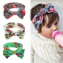 1 PC Baby Girl Hair Bow Headband Flowers Print Floral Hairband Turban Knot Headwear For Newborn Infant Toddler Hair Accessories(China (Mainland))