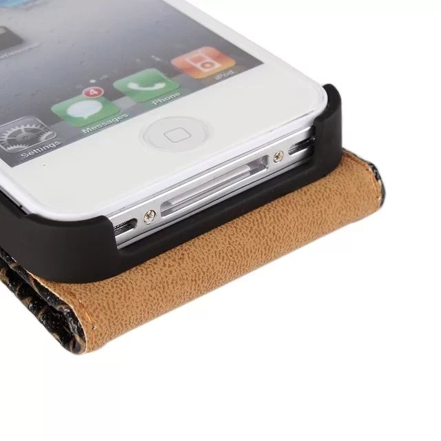 New Retro Book Luxury Vintage Royal PU leather Case for Apple iPhone 4 4G 4s Flip Vertical Mobile Cell Phone Bag Cover Case