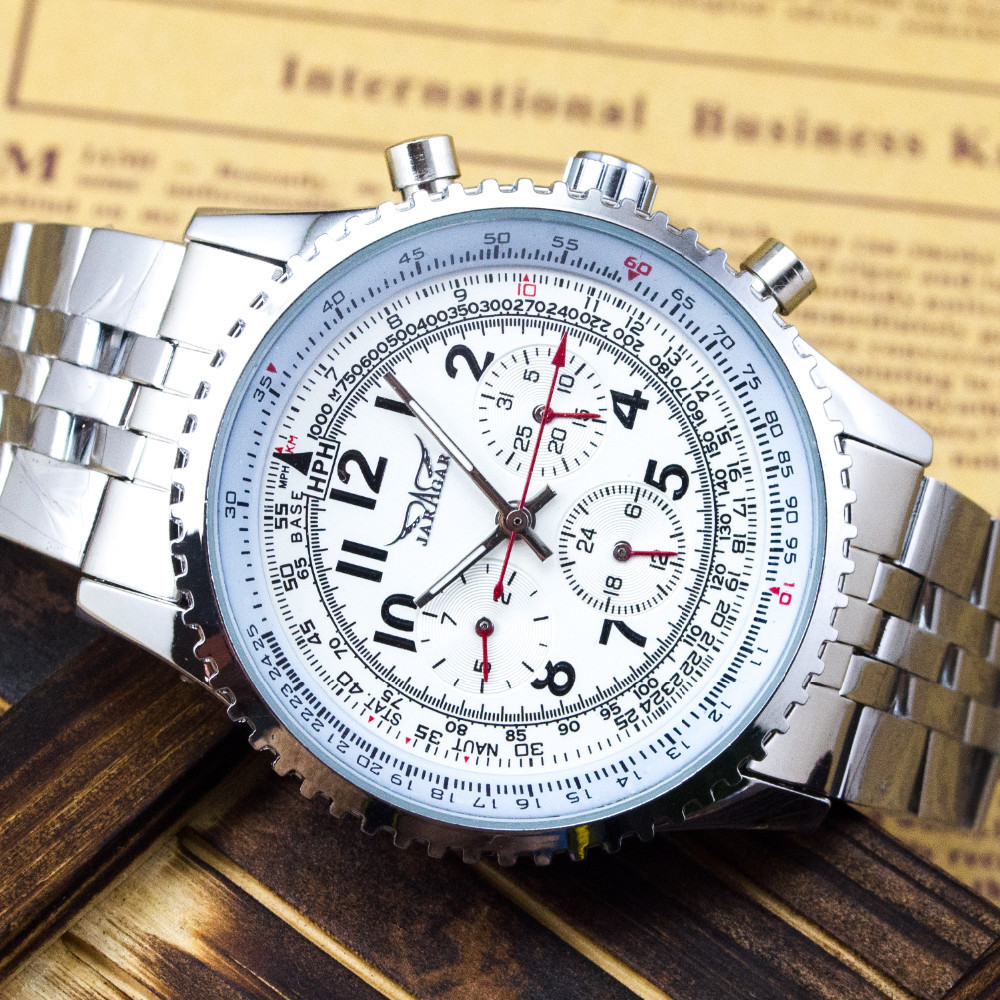 Casual White 6 Hands Multi Watch Date Stell Automatic Men Army Mechanical Wristwatch Xmas Gift(China (Mainland))