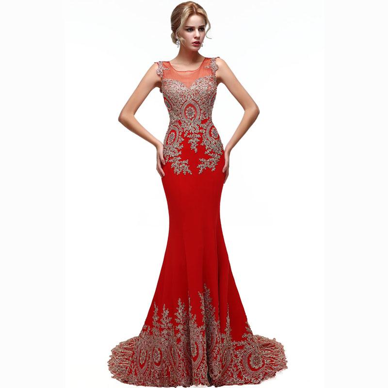 Vestidos de noche rojo vino con dorado