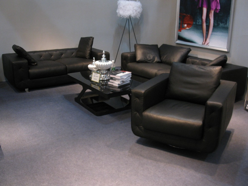 Hot sale modern chesterfield genuine leather living room for Black living room furniture sets