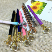 Buy New School Stationery High Big Crystal Diamond Ballpoint Pen Bling Crystal Metal Pen School Office Supplies for $1.84 in AliExpress store