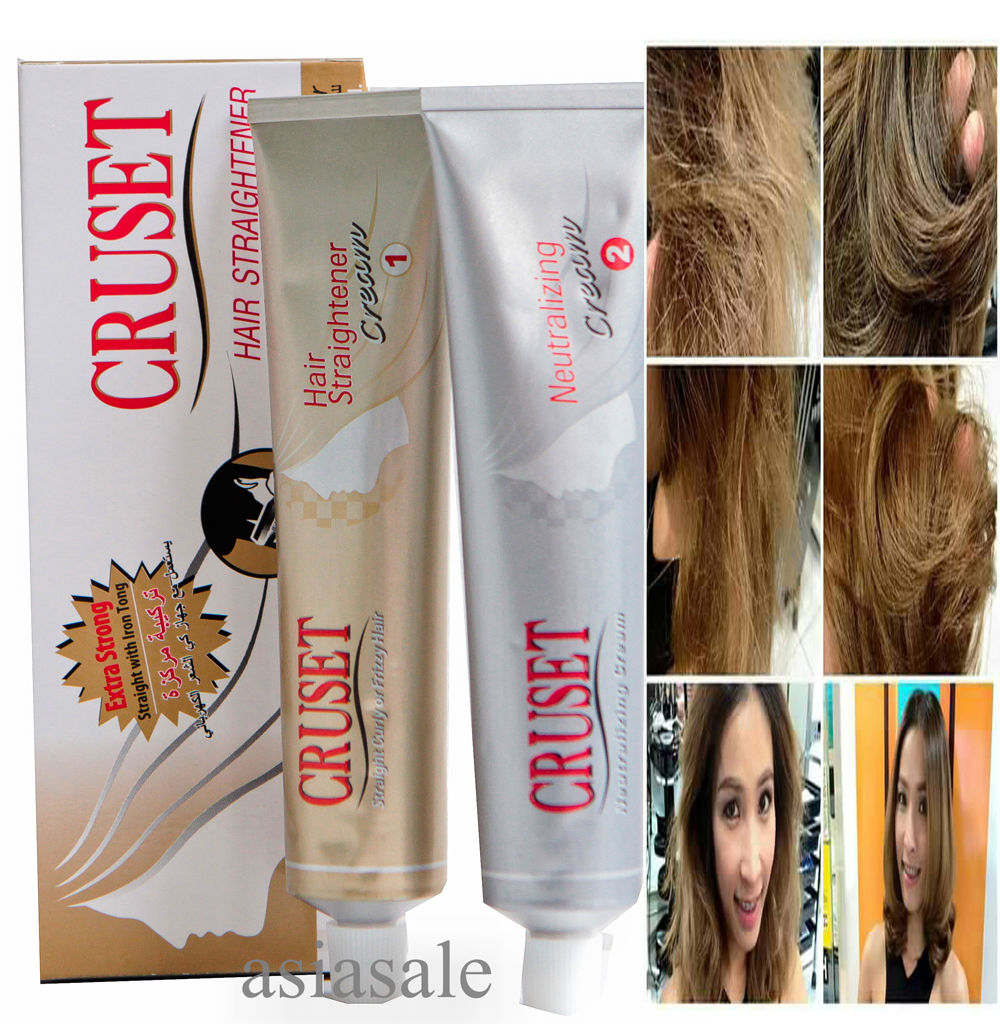 CRUSET KERATIN hair straightening treatment STRAIGHT WITH IRON Cream 60ml KIT Free Shipping