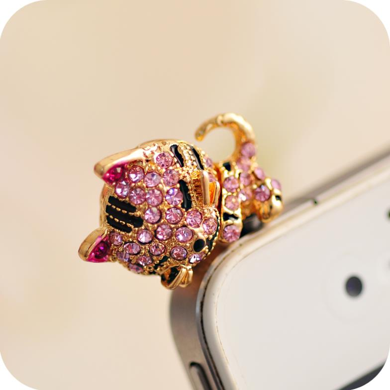 Korea Full of Diamond Cute Jewelry Sleepy Little Cat Phone Dust Plug For Iphone and All 3.5mm Earphone Plug Smart Phone(China (Mainland))