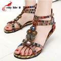 Black Friday 2016 New Roman Summer Flat Sandals Plus Size 41 Beaded Gemstone Women Bohemian Shoes