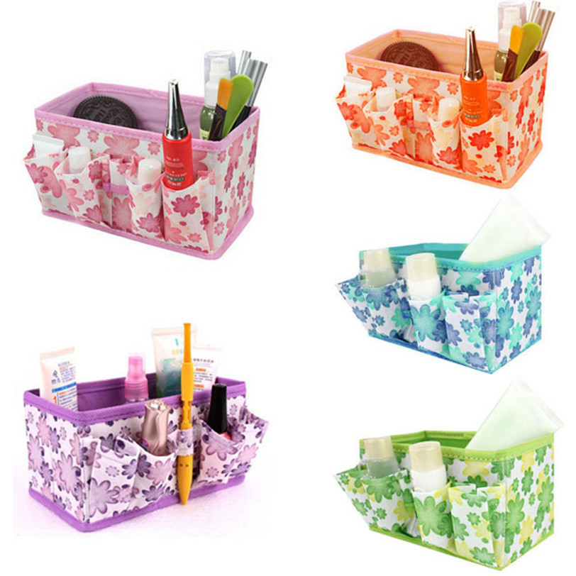 Best seller New Girls indoor Makeup Bag Cosmetic Storage Box Bright Organiser Foldable Stationary Container jul 10(China (Mainland))