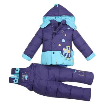 Новый младенческой мальчик в девочке теплая зима комбинезон Snowsuit верхняя одежда пальто малыш ползунки парки жакет комплектов одежды 6 - 24 месяцев