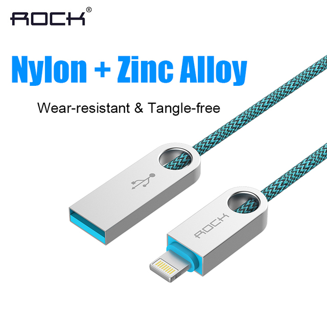 ROCK Fabric Nylon Braided for Lightning USB Cable Zinc Alloy Charging Cord Charger Cable for iPhone 5s 6s iPad iPod Data Line