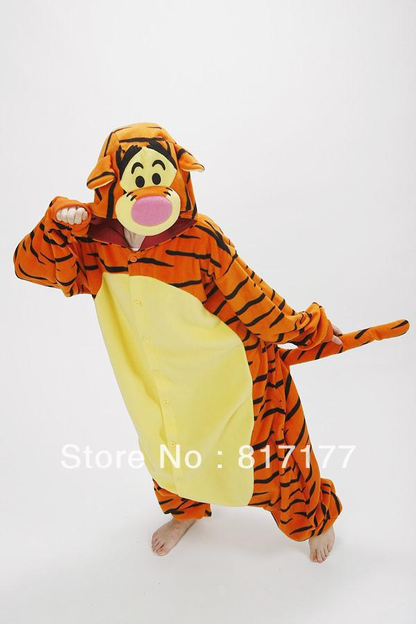 New Children Adult Fleece Animal Themed costumes Lovely Tiger Winter Pyjamas Pajamas Sleepsuit sleepwear Onesie