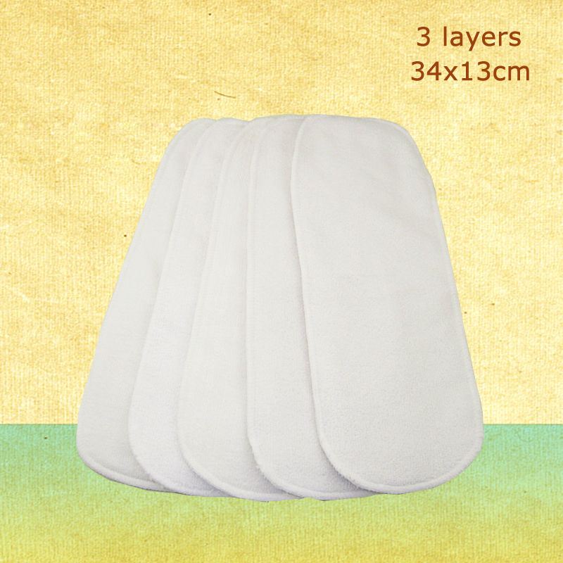 5pcs/lot Reusable Baby Diapers Nappy Liners 3 Layers Nano Cotton Modern Cloth Insert Diapers Soft Infant Diaper 34x13cm