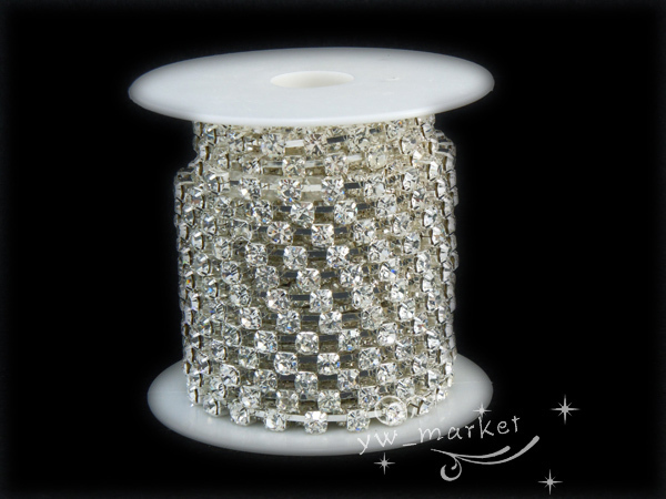 Free shipping 888 SS28 6mm Crystal Clear Rhinestone Chain fashion trimming Silver 10 yard bridal appliques trims for dresses