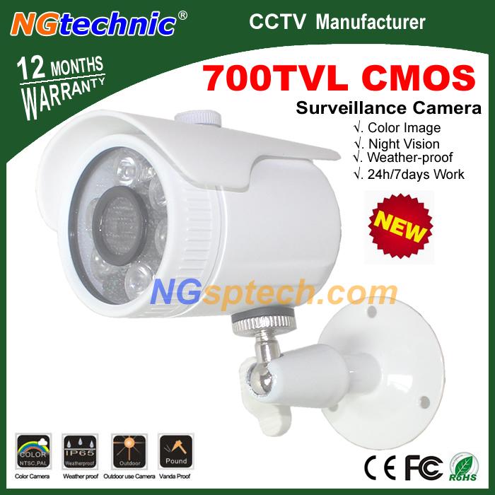 Free Shipping! New Arrival 700TVL CCTV CMOS Outdoor waterproof security Camera 6pcs array leds home infraed analog bullet Camera(China (Mainland))