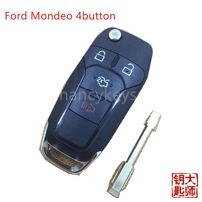 hot sell new car keys wholesale for Ford Mondeo 4button remote key 433mhz auto keys free shipping(China (Mainland))