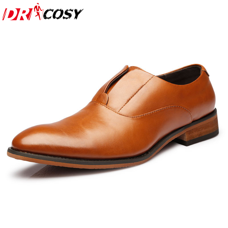 Mens Dress Shoes Autumn Fashion Leather Oxfords Man Casual Slip Formal Business Sapatos Masculinos - DRCOSY Inc. store