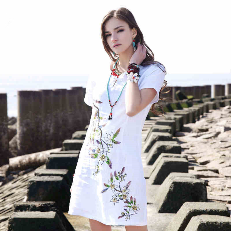 Womens Original Design National Ethnic Vintage Bohemian Embroidery Chinese Frog Bead Cotton Linen Dress AL0025X Boho ChicОдежда и ак�е��уары<br><br><br>Aliexpress