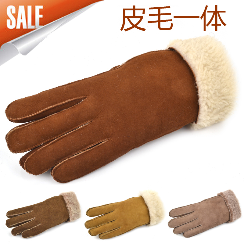 Winter thickening thermal gloves women's fur one piece sheepskin genuine leather female 2012 - ELLEN FASHION ACCESSORIES store