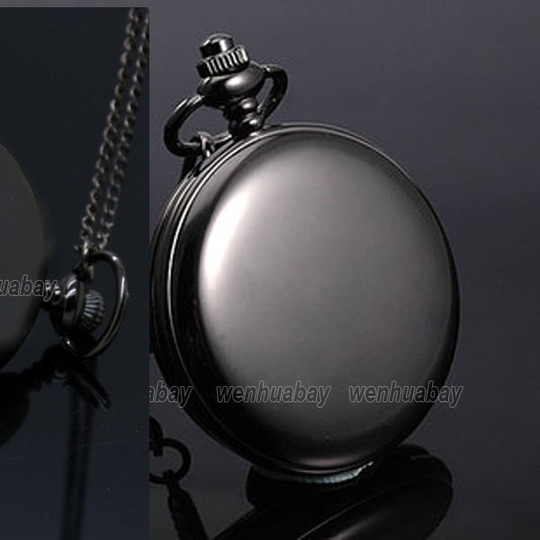 Black Quartz Pocket Watch Necklace Pendant Women Men Unisex P200 - Guangzhou Bingo Trading Co., Ltd. store