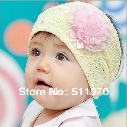 Free Shipping Infant solid flower ribbon Crochet flower head wraps spike headband kids wid big rose headdress with 10pcs/lot