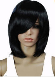 Beautiful New Long Straight Human Hair Blend Light Brown Wig wigs free shipping
