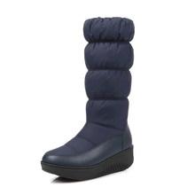 WETKISS Kış Sıcak Kar Kadın Çizme Platformu Çizmeler Orta Buzağı Ayakkabı 2018 Yeni Moda Katlanmış kadın ayakkabısı Süper Büyük Boy 35 -44(China)
