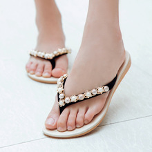 Free shipping !!!2016 Women's sandals Summer style new Flat sandals Female pearl set auger Flip-flops antiskid slippers(China (Mainland))