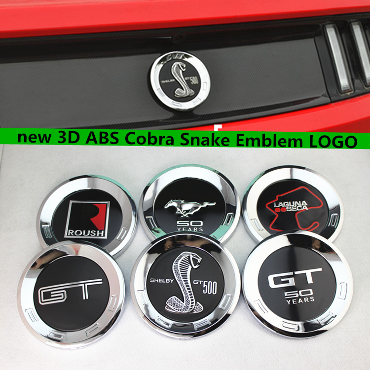 High quality Black Snake Emblem Badge stickers Car Covers for Mustang Shelby GT500 15 cm Cobra styling 2015-2016(China (Mainland))