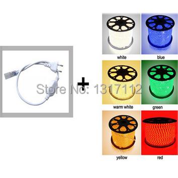 Cheap Hot Sell SMD5050 15W/m 6000K Pure White 110V LED Strip Outdoor led rope light + 2PCS Free Plug(China (Mainland))