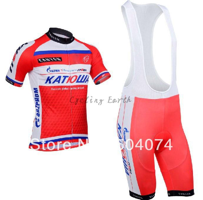 2013 NEW!!! Katusha bib short sleeve cycling jersey wear clothes bicycle/bike/riding jersey+bib pants shorts