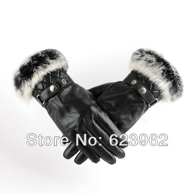 Good quality new fashion rabbit female models leather gloves   M   L XL