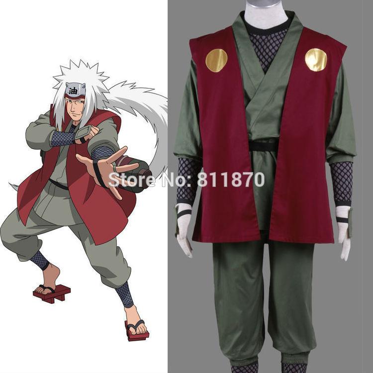 Naruto Cosplay Konoha Ninja Jiraiya Costume Mens Wear KimonoÎäåæäà è àêñåññóàðû<br><br>