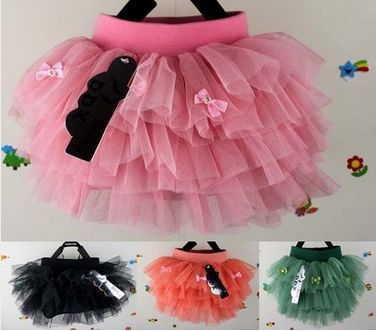 New Kids Toddlers Girls Sweety Multi Layer Lined Pompon Tutu Skirts 2-6 Y D119(China (Mainland))