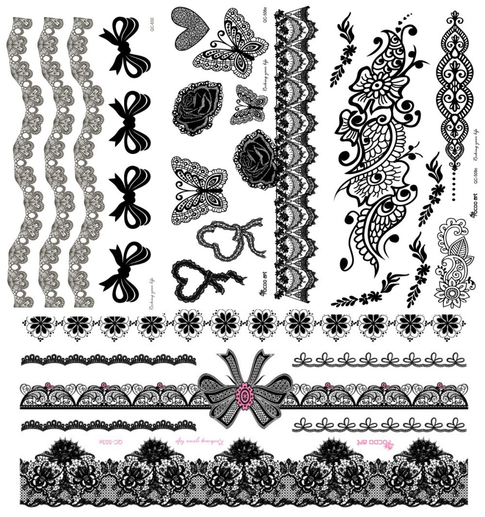4Pcs/lot Black Henna Lace Tattoo Stickers Flower Bow Design Temporary ...