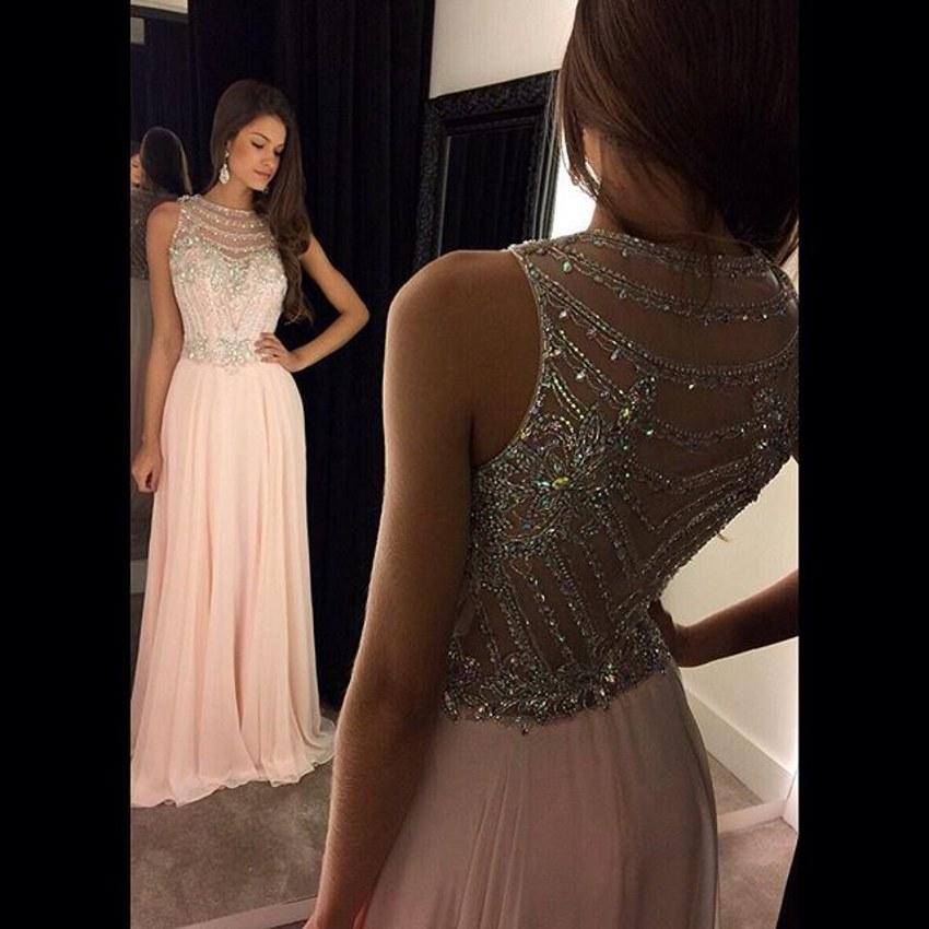 Sparkling beaded pink Prom Dresses 2016 long chiffon evening dress A-Line floor length cheap party dress vestido de festa(China (Mainland))