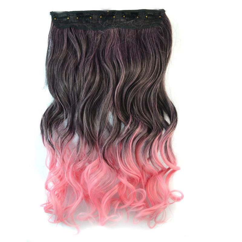 18 inch Synthetic Hair Piece Ombre Dip Dye Party Salon Festival Clip Curly Extensions Black + Pink - liao zhaofu's store