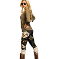 New Arrival 1pc Black Blue Fashion Women Skinny Printed Stretchy Pants Leggings