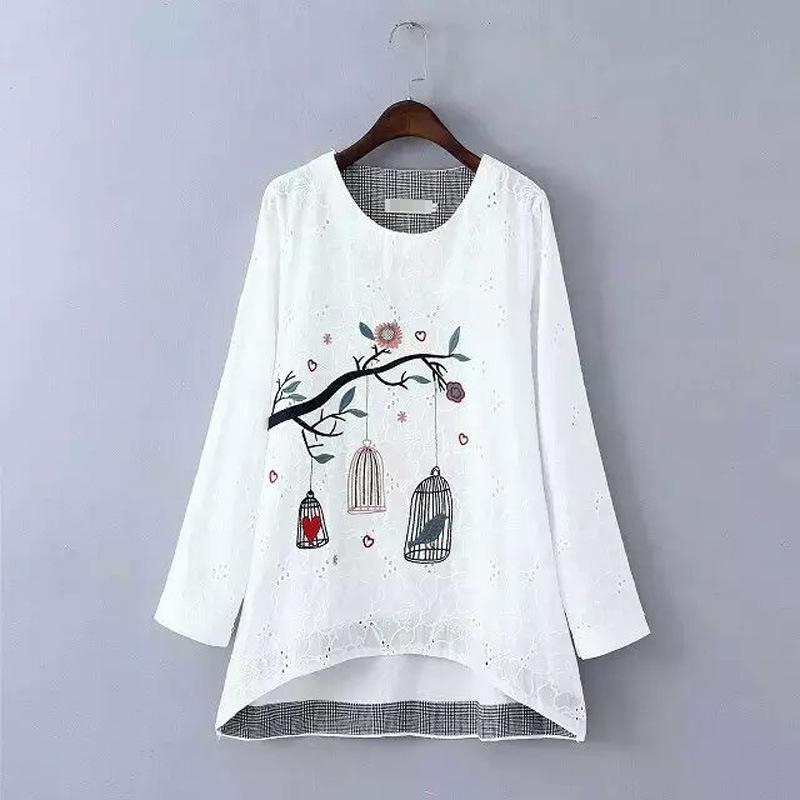 Hongkong A-list Fashion Co., Ltd High Quality Women's Tops O-Neck cotton Embroidery T-Shirt long-Sleeve T Shirts Plus Size Tees(China (Mainland))