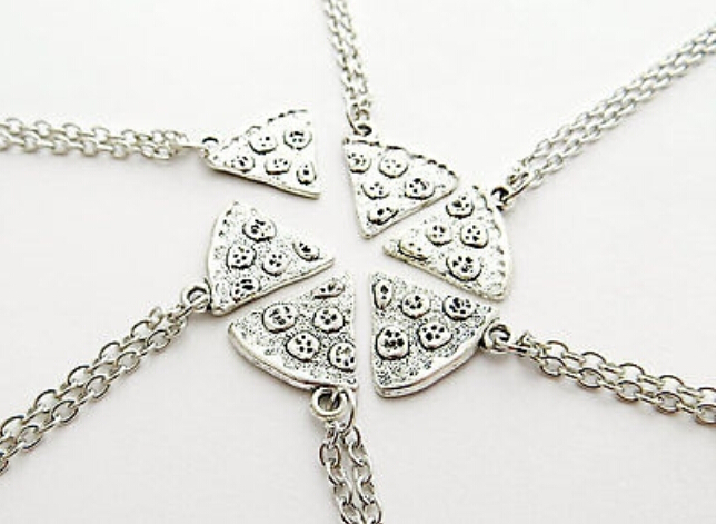 Fashion Vintage POP Charms Pizza Food Pendant Necklaces Ancient Silver Statement Necklace Sweater Chain For Women Jewelry B504(China (Mainland))