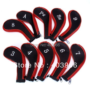 10 Golf Clubs Iron Set Headcovers Head Cover Red/Black Free Shipping