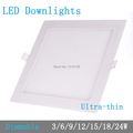 Thickness 3W 6W 9W 12W 15W 18W 24W dimmable LED downlight Square LED panel Ceiling Recessed