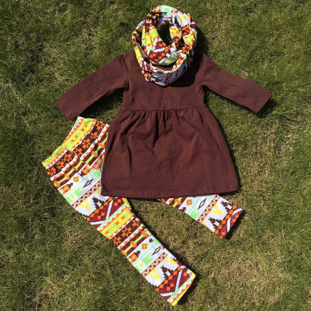 2-7t FALL/Winter kids  OUTFITS 3 pieces scarf pant sets girls Halloween boutique clothes kids brown top sets(China (Mainland))