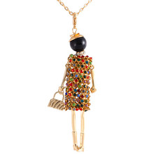 Personality Design Crystal Doll Necklace Long Chain Pendant Shiny Rhinestone Necklaces Women Girl Bag Statement  Jewelry(China (Mainland))