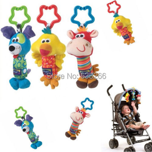 Kids Baby Soft Toy Animal Handbells Rattles Bed Stroller Bells Developmental Color Yellow,red,blue,write order remark - CEO store