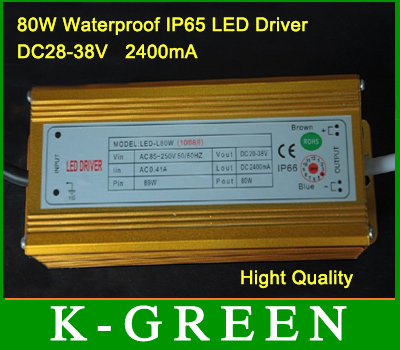 Professional manufacturer 80W waterproof LED driver input voltage AC85-265V /output voltage DC28-38V  2400mA free shipping<br><br>Aliexpress