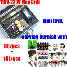 Free Shipping Mini Drill,carving burnish with 80/pcs + 161/pcs Multifunction Engraving machine tool Electric mini set AC100-240V