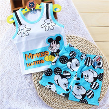 2015 summer kids cute clothing sets casual cartoon mickey  boys girls clothing vest+shorts suit KT569(China (Mainland))