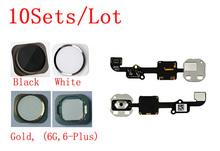 ( 6G4755505B10AM ) ( 10 компл./лот AM ) 100% качество плюс главная кнопка черный белого золота и шлейф для iPhone 6 4.7 плюс 5.5