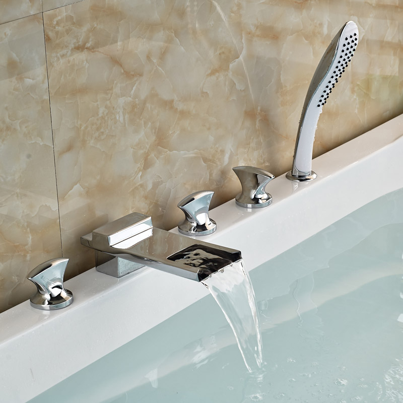 Здесь можно купить  Brand New Modern Waterfall Chrome Tub Filler With ABS Handshower Bathroom Bathtub Faucet Brand New Modern Waterfall Chrome Tub Filler With ABS Handshower Bathroom Bathtub Faucet Дом и Сад