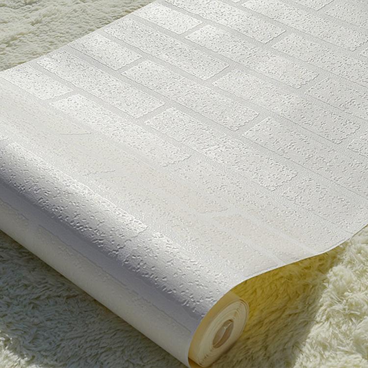 White 3d modern design brick wallpaper roll vinyl wall ebay for Wall covering paper