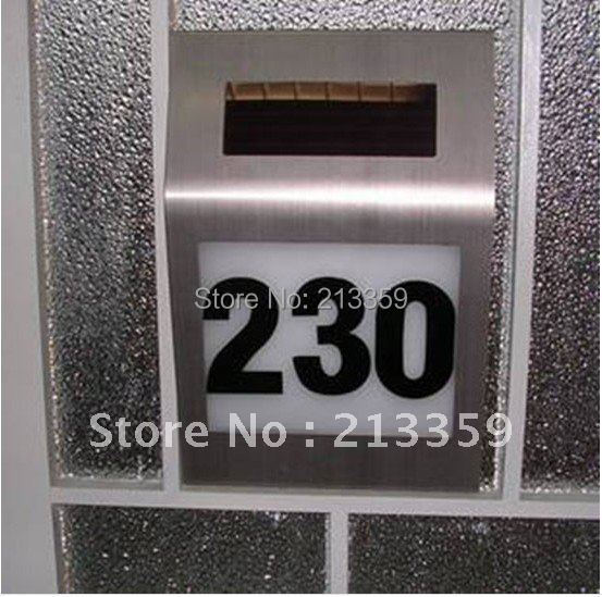 Free shipping for New Solar doorplate lamp light ,light-operated led billboard lamp of house number,solar light retailsale 2LED